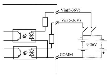 Схема подключения дискретных входных сигналов