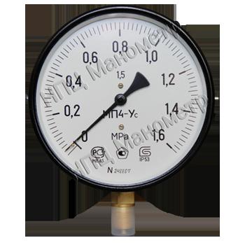 Манометр технический показывающий МП4-Уc, предназначен для измерения избыточного давления неагрессивных, некристаллизующихся жидкостей, пара и газа, в том числе кислорода, ацетилена.